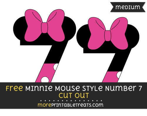 Free Minnie Mouse Style Number 7 Cut Out - Medium Size Printable