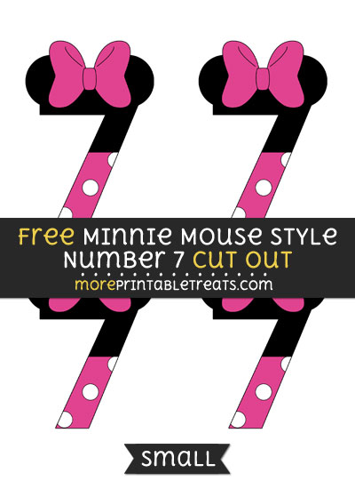 Free Minnie Mouse Style Number 7 Cut Out - Small Size Printable