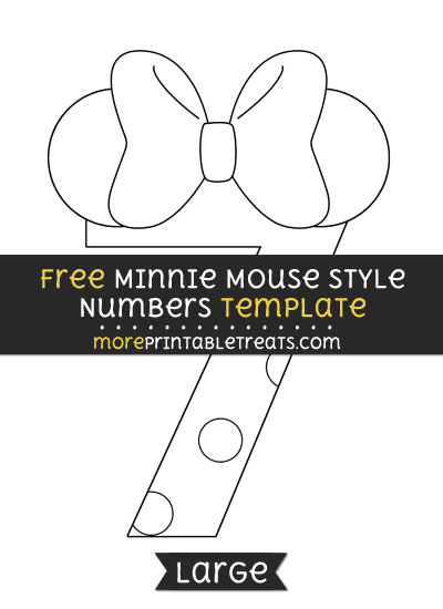 Free Minnie Mouse Style Number 7 Template - Large