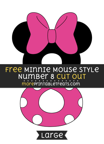 Free Minnie Mouse Style Number 8 Cut Out - Large size printable