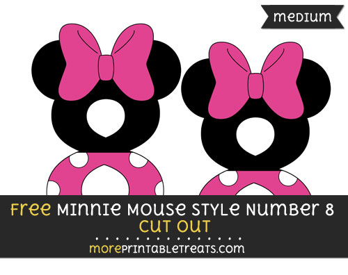 Free Minnie Mouse Style Number 8 Cut Out - Medium Size Printable