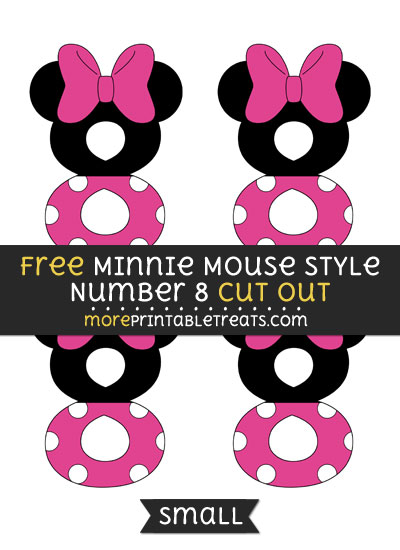 Free Minnie Mouse Style Number 8 Cut Out - Small Size Printable