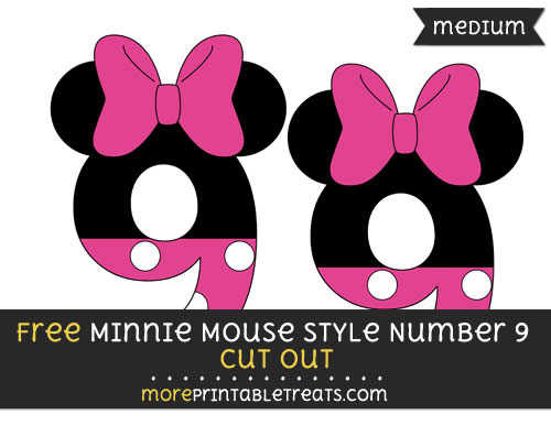 Free Minnie Mouse Style Number 9 Cut Out - Medium Size Printable