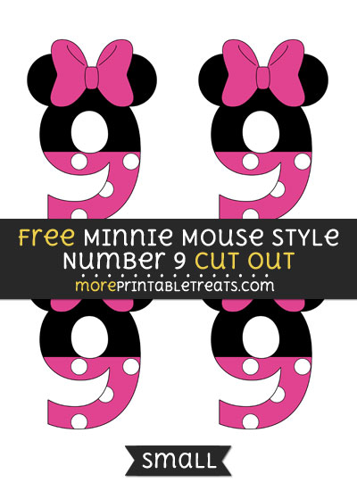 Free Minnie Mouse Style Number 9 Cut Out - Small Size Printable