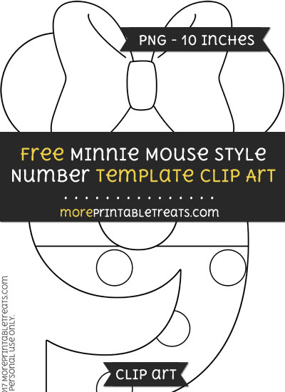 Free Minnie Mouse Style Number 9 Template - Clipart