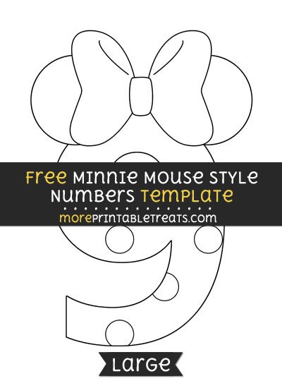Free Minnie Mouse Style Number 9 Template - Large