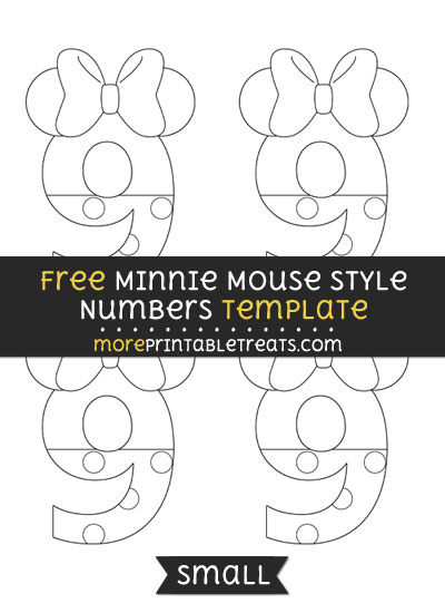Free Minnie Mouse Style Number 9 Template - Small