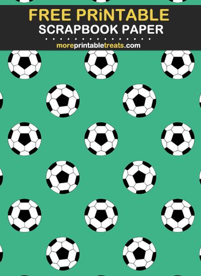 Free Printable Mint Green Soccer Ball Scrapbook Paper