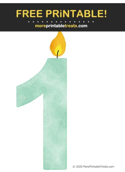 Free Printable Mint Green Watercolor Birthday Candle Number 1 Cut Out