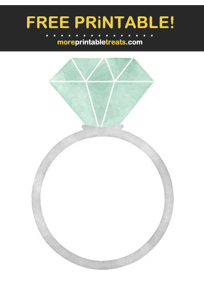 Free Printable Mint Green Watercolor Engagement Ring