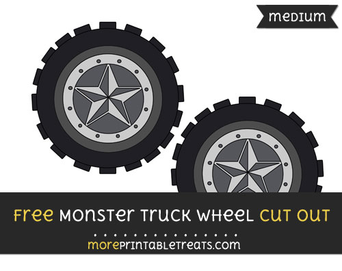 Free Monster Truck Wheel Cut Out - Medium Size Printable