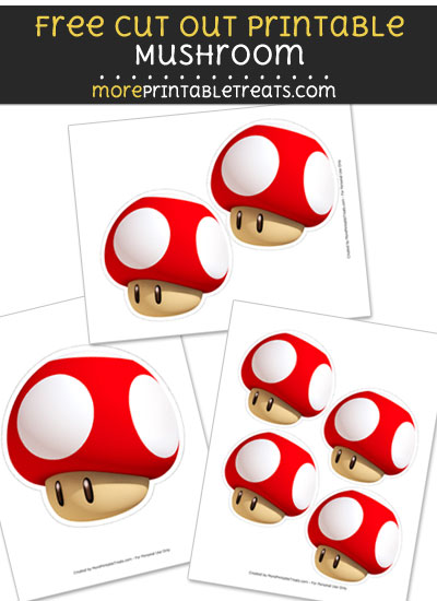 Free Mushroom Cut Out Printable with Dashed Lines