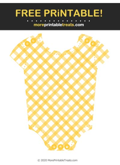 Free Printable Mustard Yellow Gingham Baby Onesie Cut Out