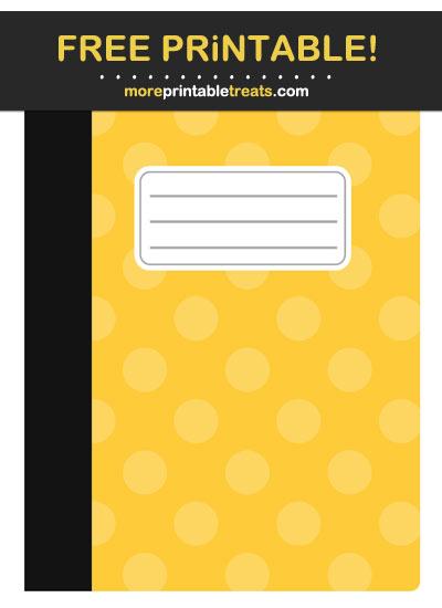 Free Printable Mustard Yellow Polka Dot School Notebook