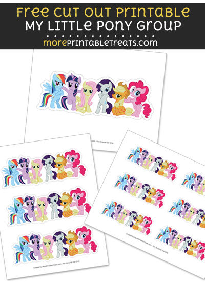 Free My Little Pony Group Cut Out Printable with Dashed Lines