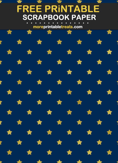 Free Printable Navy Blue and Gold Foil Star Scrapbook Paper