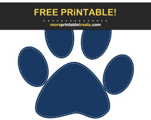 Free Printable Navy Blue White-Stitched Paw Print