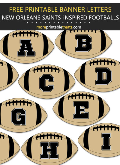 Free Printable New Orleans Saints-Inspired Football Bunting Banner
