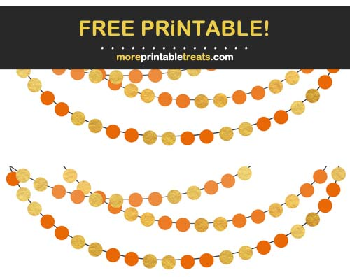 Free Printable Orange and Gold Circles Bunting Banner Cut Outs