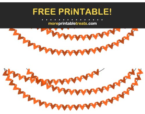 Free Printable Orange Hearts Bunting Banner Cut Outs