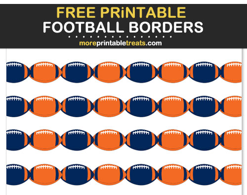 Free Printable Orange and Navy Blue Football Borders for Scrapbooks, Bulletin Boards, and Sign Decorating - Go Broncos!