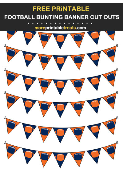 Free Printable Orange and Navy Blue Football Bunting Banners Cut Outs - Go Broncos!