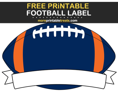 Free Printable Orange and Navy Blue Football Ribbon Label for Signs, Food Labels, Gift Tags - Go Broncos!