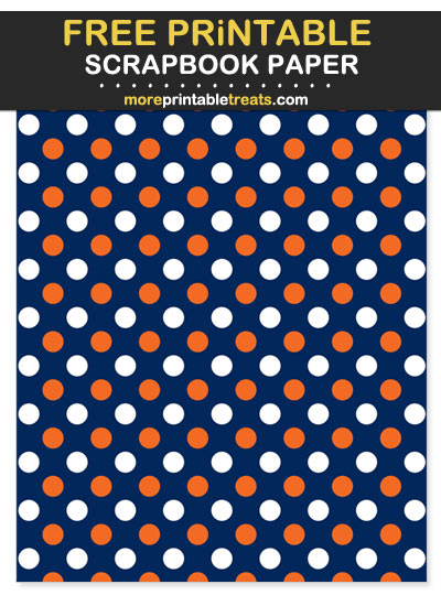 Free Printable Orange and Navy Blue Polka Dot Scrapbook Paper - For Broncos Football Fan Crafting!