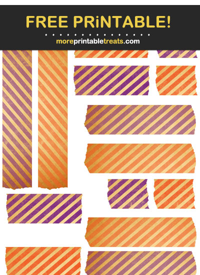 Free Printable Orange and Purple Vintage Washi Tape