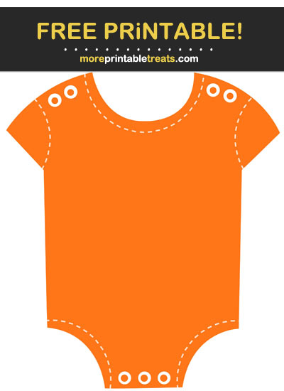 Free Printable Orange Stitched Baby Onesie Cut Out