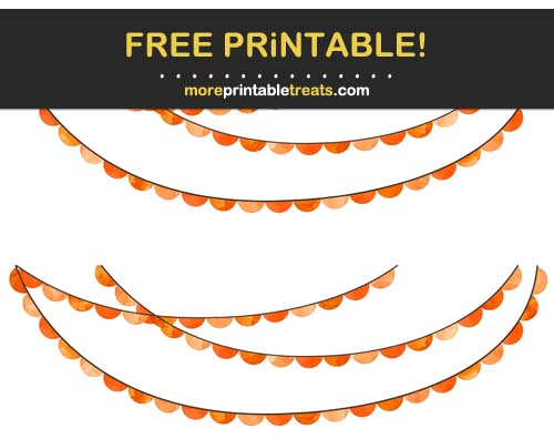 Free Printable Orange Watercolor Scalloped Bunting Banner Cut Outs