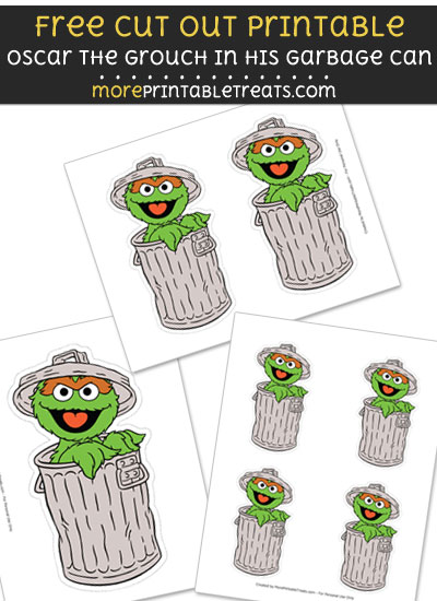 Free Oscar the Grouch in his Garbage Can Cut Out Printable with Dashed Lines - Sesame Street