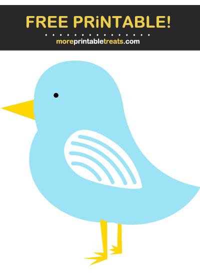 Free Printable Pastel Aqua Blue Birdy Cut Out