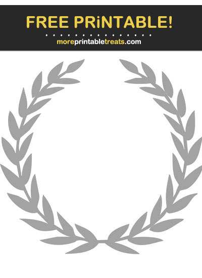 Free Printable Pastel Grey Laurel Wreath Cut Out
