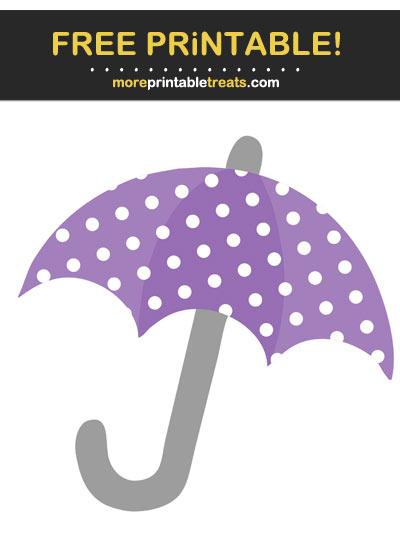Free Printable Pastel Plum Purple Polka Dot Umbrella Cut Out