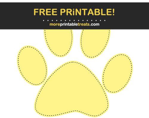 Free Printable Pastel Yellow Black-Stitched Paw Print