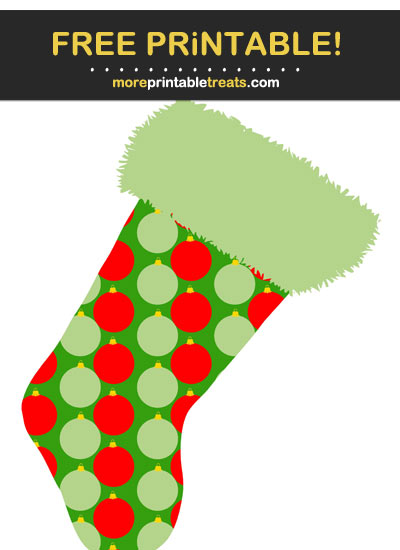 Free Printable Patterned Christmas Stocking Cut Out