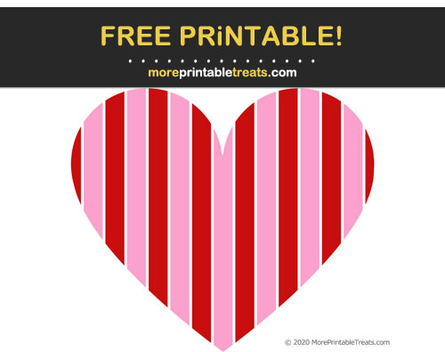 Free Printable Patterned Striped Heart Cut Out
