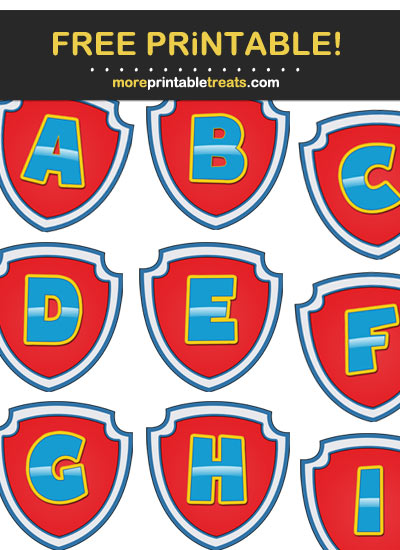 Free Printable Paw Patrol Inspired Banner Letters for DIY Banner