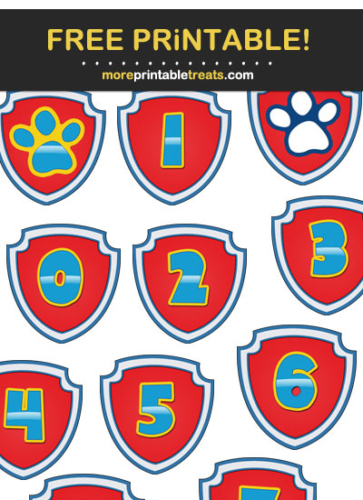 Free Printable Paw Patrol Theme Badge Letters, Numbers, and Symbols for DIY Banner