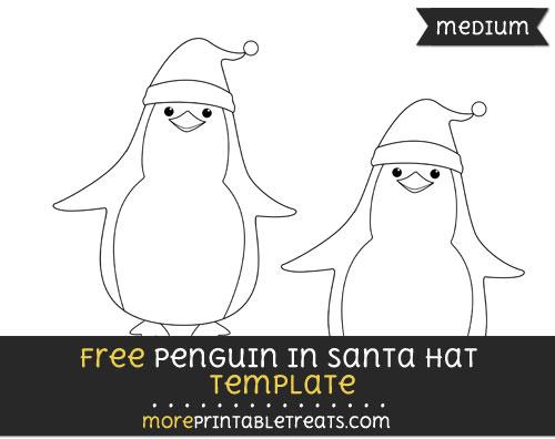 Free Penguin In Santa Hat Template - Medium
