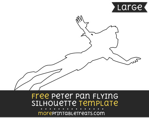 Free Peter Pan Flying Silhouette Template - Large
