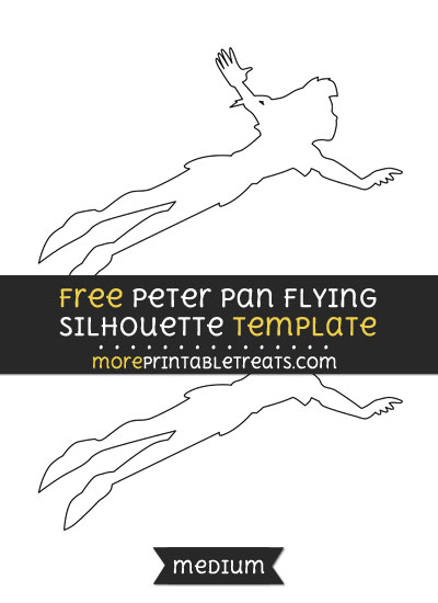 Free Peter Pan Flying Silhouette Template - Medium