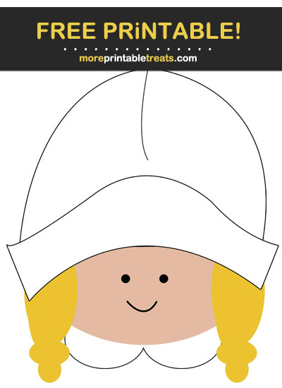 Free Printable Pilgrim Girl Thanksgiving Cut Out