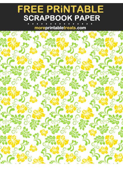 Free Printable Pineapple Yellow Hawaiian Scrapbook Paper