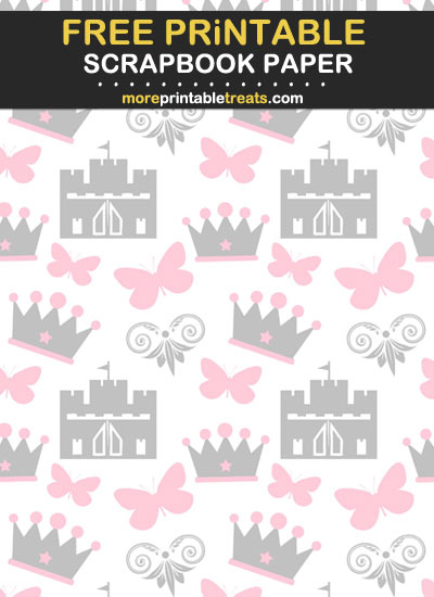 Free Printable Pink and Grey Princess Scrapbook Paper
