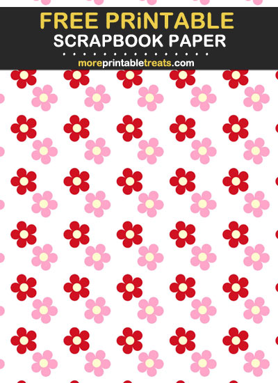 Free Printable Pink and Red Flowers Scrapbook Paper