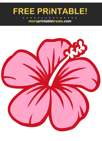 Free Printable Pink and Red Hibiscus Flower Cut Out
