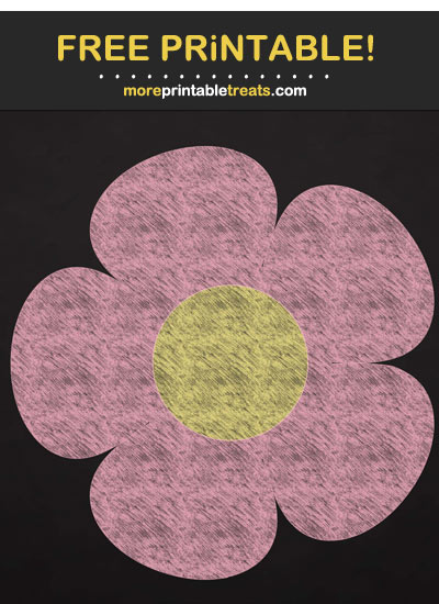 Free Printable Pink Chalk-Style Flower Cut Out