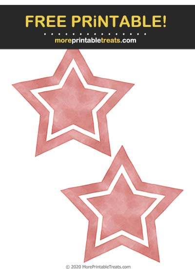 Free Printable Pink Mauve Watercolor Double Star Cut Outs